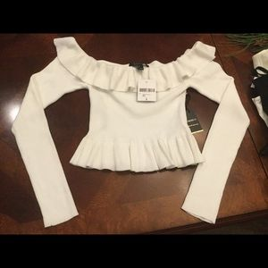 Large, White scalloped off the shoulder sweater